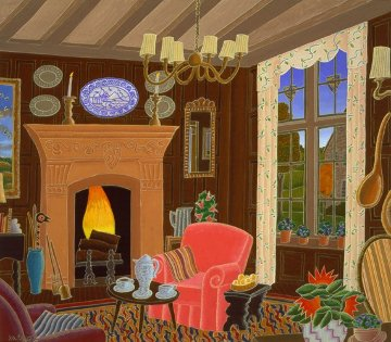 Cotswold Inn (England Suite) 1985 19x21 Original Painting by Thomas Frederick McKnight