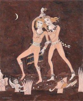 Minoan Dancers 2009 24x20 Original Painting by Thomas Frederick McKnight
