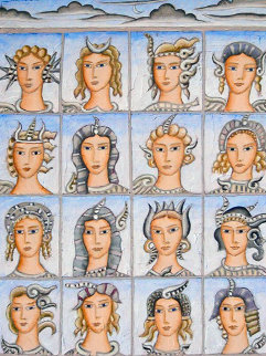 Sixteen Faces of Nymphs 2011 21x28 Original Painting by Thomas Frederick McKnight