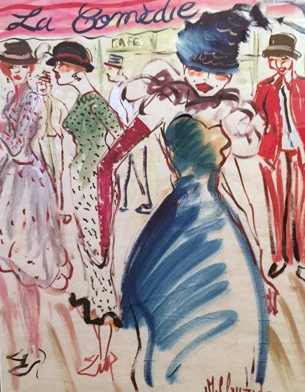 La Comedie 25x19 Original Painting by Marc Clauzade