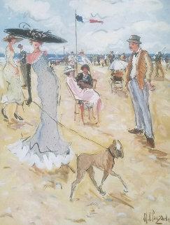 Madame Promene Son Chien 64x51 Original Painting by Marc Clauzade
