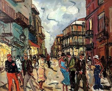 Quartier Francais, New Orleans 34x39 Original Painting - Marc Clauzade