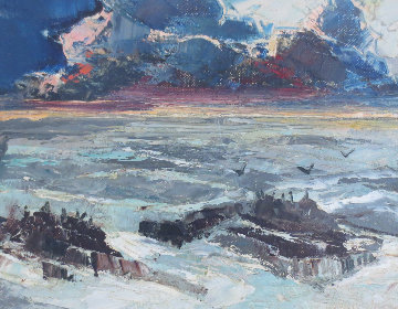 Untitled Seascape 1940 6x8 Original Painting by Joshua Meador