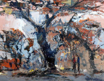 Untitled Painting 1940 6x8 Original Painting by Joshua Meador