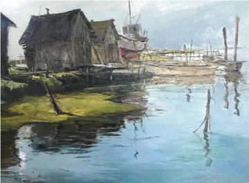 Boat Anchorage 18x24 Original Painting - Joshua Meador