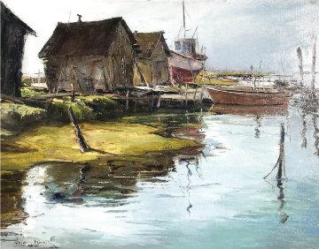 Boat Anchorage  16x24 Original Painting - Joshua Meador