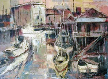 Port of Call  1961 18x22 Original Painting - Joshua Meador