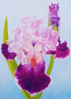Iris and Bud 2011 40x30 Original Painting - Ron Reeves Meadow