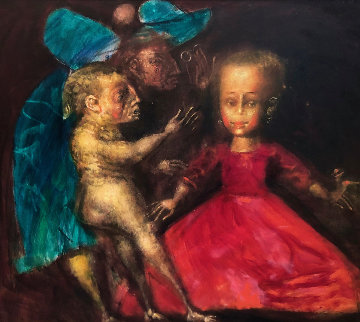 Walk # 9 (Dolls) 1994 38x34 Super Huge Original Painting - Andrei Medvedev