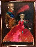 Double Portrait 1995 42x33 Huge Original Painting by Andrei Medvedev - 1