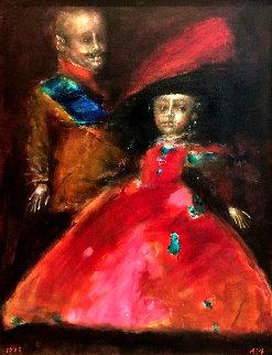 Double Portrait 1995 42x33 Huge Original Painting - Andrei Medvedev