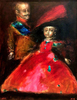 Double Portrait 1995 42x33 Super Huge Original Painting - Andrei Medvedev