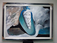 Untitled Early Abstract Painting  48x64 Super Huge  Original Painting by Will Mentor - 1