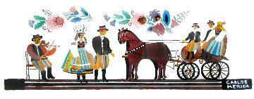 Carriage Ride 8x18 Original Painting - Carlos Merida