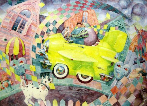 No Parking 1992 30x38 Original Painting by Daniel Merriam