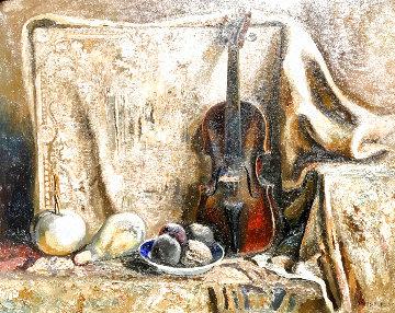 Still Life With Violin 1973 26x32 Original Painting - Lev Meshberg