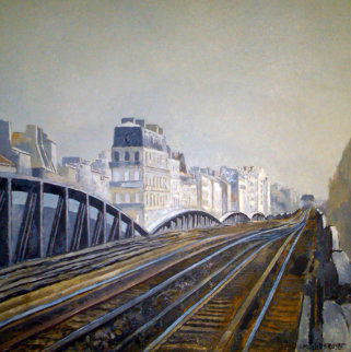 Metro in Paris 1995 16x16 Original Painting - Lev Meshberg