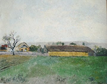 Burgundy Countryside 1993 18x22 Original Painting - Lev Meshberg