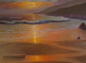 Golden Hue At Low Tide 1984 69x45 Original Painting by Maurice Meyer