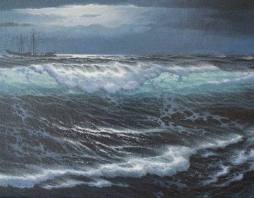 Lost At Sea 29x53 Huge Original Painting - Maurice Meyer