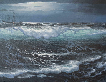 Lost At Sea 29x53 Super Huge Original Painting - Maurice Meyer