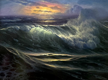 Seascape At Sunset 16x21 Original Painting - Maurice Meyer