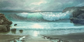 Seascape 1978 33x57 Original Painting - Maurice Meyer