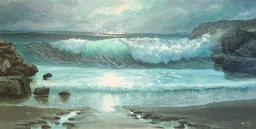 Seascape 1978 33x57 Super Huge Original Painting - Maurice Meyer