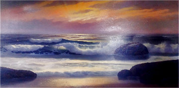 Untitled Seascape 26x48 Original Painting - Maurice Meyer