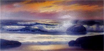 Untitled Seascape 26x48 Huge Original Painting - Maurice Meyer