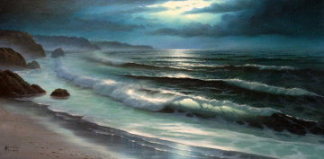 Untitled Seascape 15x30 Original Painting - Maurice Meyer