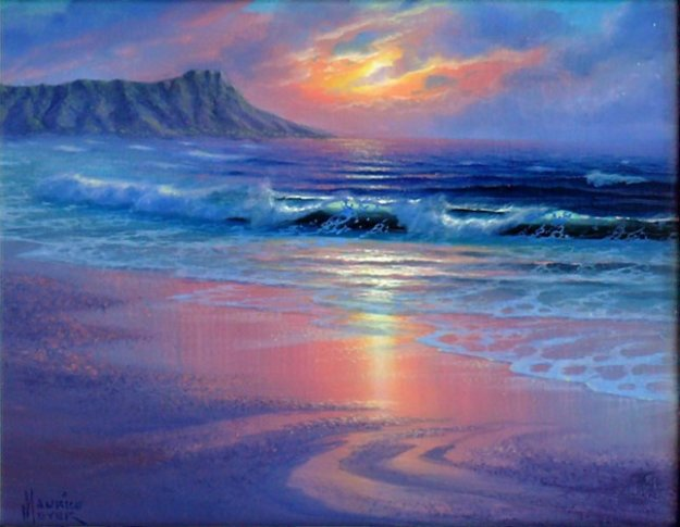 Diamond Head, Hawaii 14x16 Original Painting by Maurice Meyer