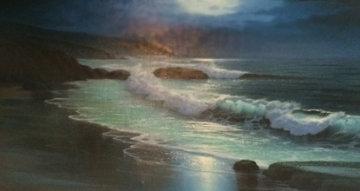 Untitled Seascape 1970 56x32 Super Huge  Original Painting - Maurice Meyer