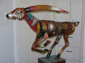 Bush Buck Wooden Sculpture Unique 53 in Sculpture - Dan Meyer