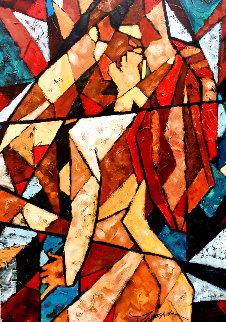 Kiss 2007 39x24 Original Painting - Trevor Mezak
