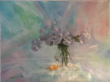 Chrysanthemums And Apricots 2012 30x40 Original Painting - Michael Gorban
