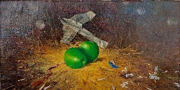 Green Apples 2005 16x31 Original Painting by Michael Gorban