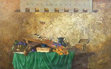 Mandolin And Manuscript 2012 30x48 Original Painting by Michael Gorban
