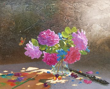 Roses on  Gray Table 2012 16x20 Original Painting by Michael Gorban