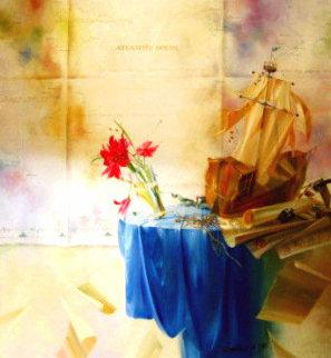 Rhapsody in Blue 1999 38x38 Original Painting - Michael Gorban