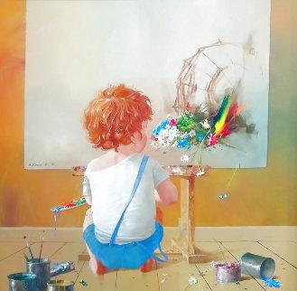 Young Painter 2007 43x43 Original Painting - Michael Gorban