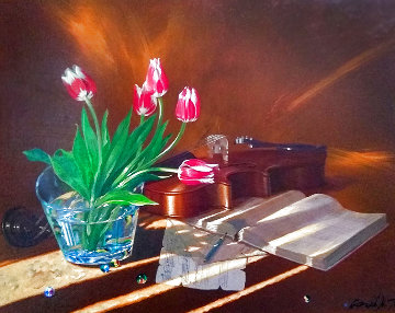 Red Tulips 2006 25x29 Original Painting - Michael Gorban