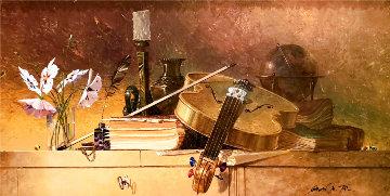 Untitled Painting 1970 21x36 Original Painting - Michael Gorban