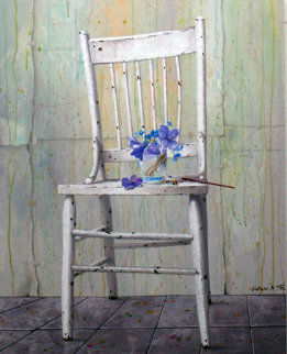 Blue Bouquet on Chair 2009 30x24 Original Painting by Michael Gorban