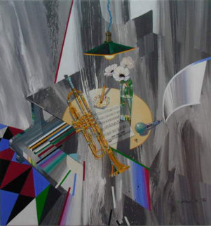 Trumpet Rehearsal 2007 32x30 Original Painting - Michael Gorban
