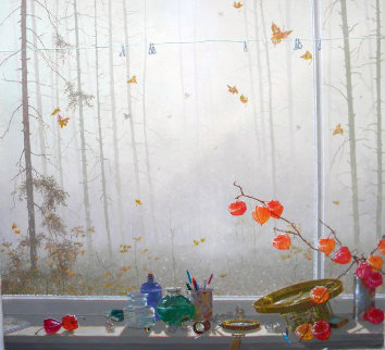 Leaves in the Mist 2009 Original Painting - Michael Gorban
