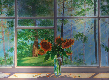 Sunflower Grove 2005 30x40 Original Painting - Michael Gorban