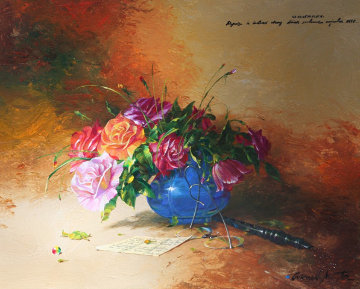 Rose Bouquet 2005 24x30 Original Painting - Michael Gorban