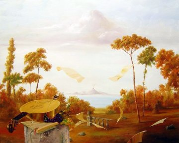 Landscape With Mandolin 40x50 Super Huge  Original Painting - Michael Gorban