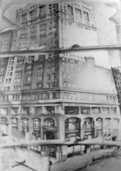 View Into Broadway 1971, New York Drawing by Michael Mazur